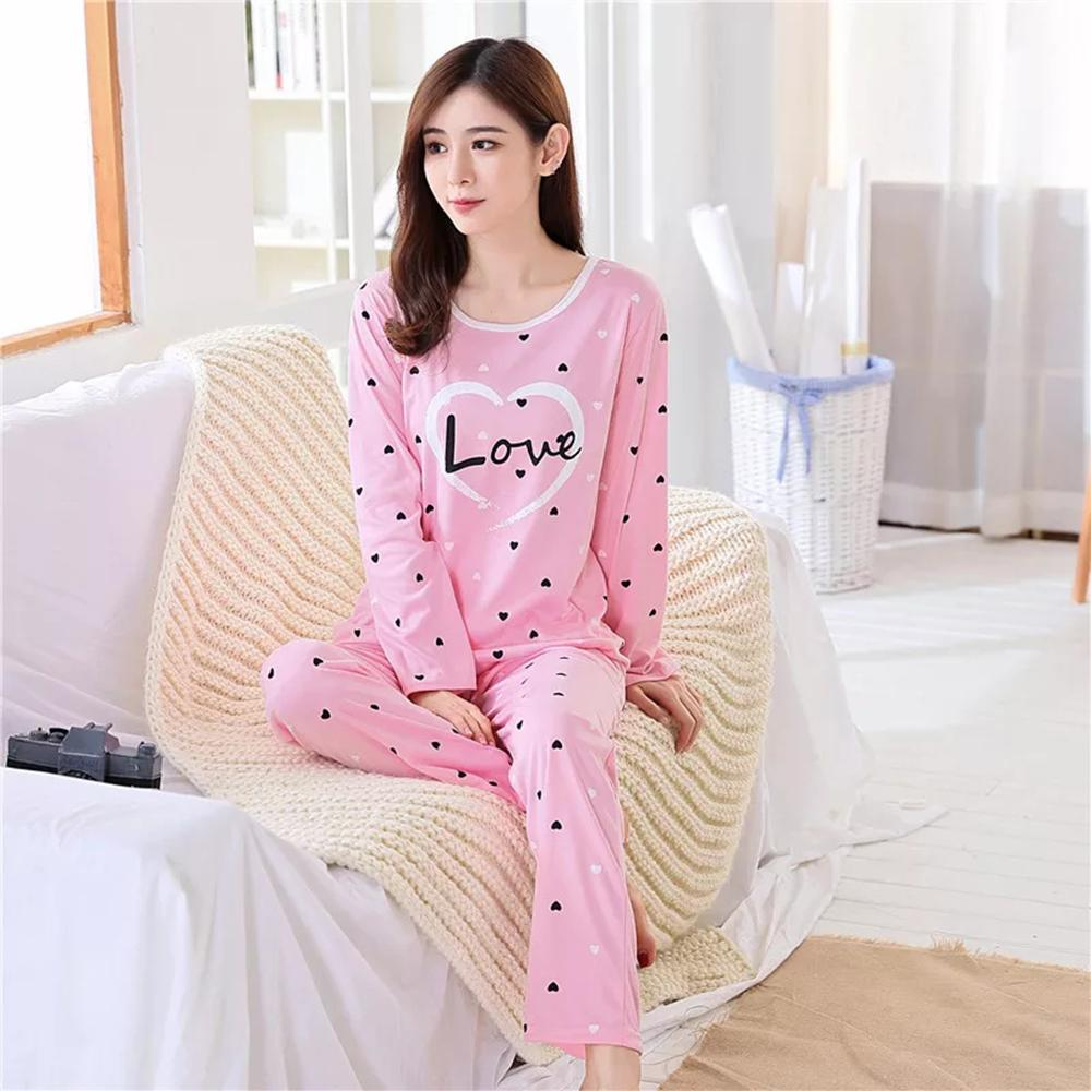 Girls Night Suit Pink Hearts Love Printed