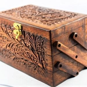Jewellery Box Trolly Style 3 Step Large Size Solid Wood