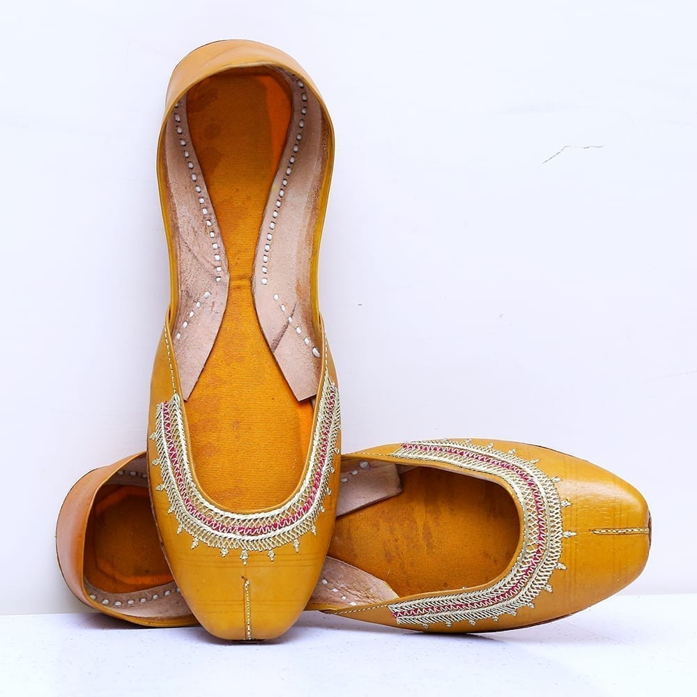 Buy Online Mustard Color Handmade Multani Khussa For Ladies Price in Pakistan